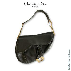ICONIC CHRISTIAN DIOR Black Calfskin Saddle Bag